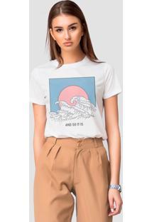 Camiseta Basica Joss Ondas Do Verão Branca