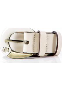 Cinto Cintura Quadril Skinny Fivela Com Pintura Off White