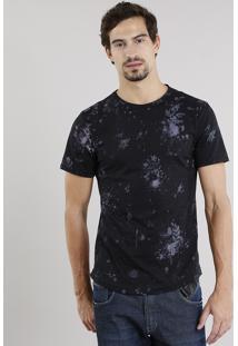 Camiseta Masculina Slim Fit Estampada Floral Manga Curta Gola Careca Preto