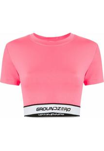 Ground Zero Blusa Cropped Com Logo - Rosa