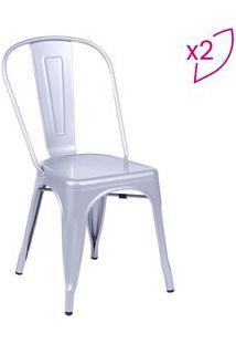 Or Design Jogo De Cadeiras De Jantar Retrã´ Cinza 2Pã§S