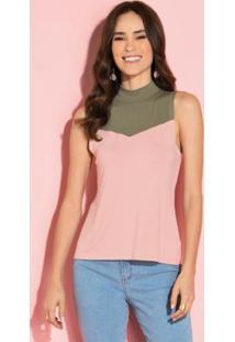 Blusa Rosa E Verde Com Recorte