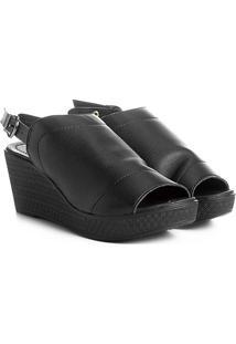 Sandal Boot Azaleia Anabela Alta - Feminino-Preto