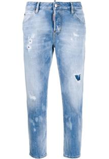 Dsquared2 Calça Jeans Reta Holes Hockney - Azul