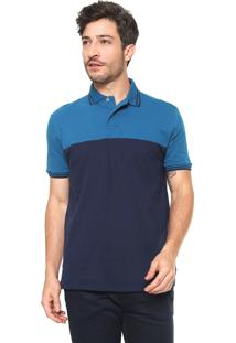 Camisa Polo Malwee Reta Color Blocking Azul