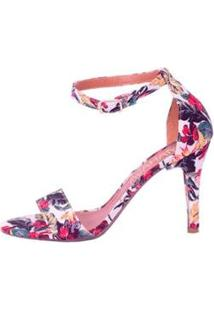 Sandália Em Tecido Floral Salto Fino Mahasa Feminina - Feminino-Branco