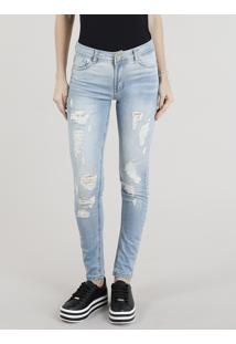 Calça Jeans Feminina Sawary Super Skinny Destroyed Azul Claro