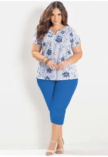 Blusa Estampada E Corsário Azul Plus Size