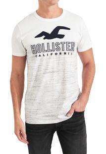 Camiseta Manga Curta Hollister Gráfica Branco/Cinza