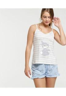 Pijama Disney Estampa Bambi Alças Finas Feminino - Feminino-Cinza+Azul