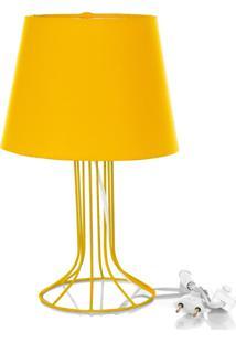 Abajur Torre Dome Amarelo Com Aramado Amarelo - Amarelo - Dafiti