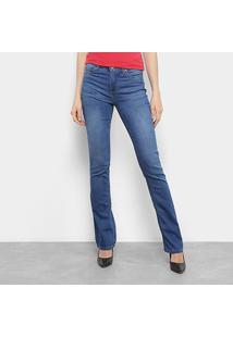 Calça Jeans Flare Calvin Klein Estonada Cintura Média Feminina - Feminino-Marinho