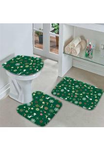 Jogo Tapetes Para Banheiro Merry Christmas Único
