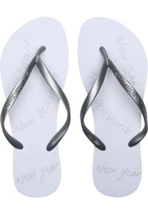 Chinelo Calvin Klein Metalizado Branco/Prata