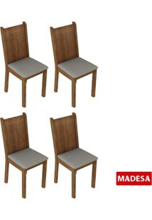 Kit 4 Cadeiras 4290 Madesa Rustic/Pérola