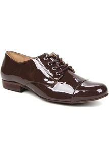 Oxfords Shoestock Verniz Feminino - Feminino-Cacau
