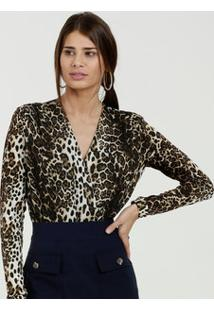 Body Feminino Estampa Animal Print Manga Longa Marisa