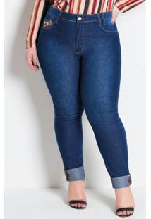 Calça Cigarrete Plus Size Jeans Com Detalhe Onça