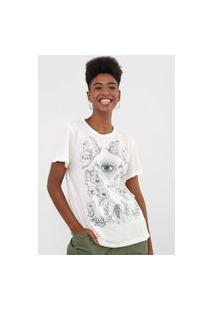 Camiseta Colcci Floral Branca