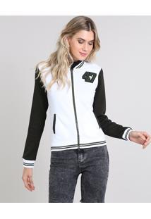Jaqueta Feminina Bomber Matelassê Bicolor Com Bolsos Branca