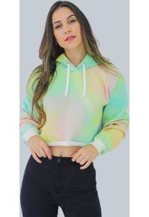 Blusa Moletom Fechado Com Toca Fashion Cropped Tie Dye Feminino Db 701El Colorido - Kanui