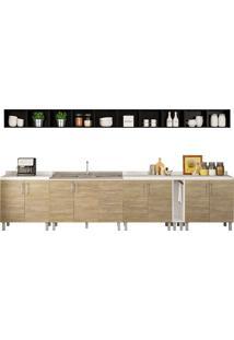 Cozinha Compacta Com 15 Peças Floripa 21-Politorno - Branco / Carvalho Claro / Preto