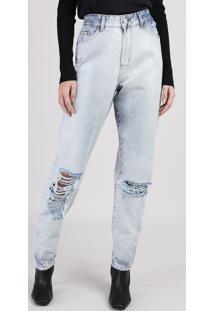 Calça Jeans Feminina Manu Gavassi Mom Cintura Alta Com Rasgos Azul Claro
