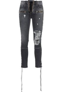 Unravel Project Skinny Stonewash Ripped Skinny Jeans - Cinza