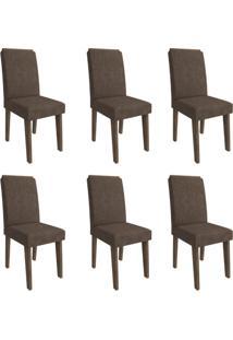 Conjunto Com 6 Cadeiras De Jantar Milena Suede Marrocos E Cacau