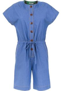 Isolda Macaquinho Jeans Com Amarração - Azul
