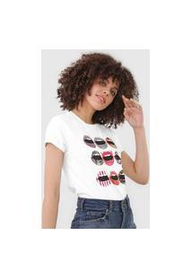 Camiseta Guess Bocas Coloridas Branca