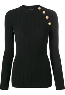 Balmain Blusa De Tricô Canelado - Preto