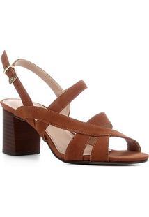 Sandália Couro Shoestock Nobuck Salto Bloco Médio Feminina - Feminino-Marrom