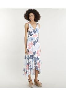 ee84f5391 CEA. Vestido Floral Poliester Viscose Decote V Midi Envelope Transpassado  Tom Claro Estampado Bege Feminino