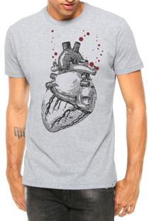 Camiseta Criativa Urbana Coração Realista Manga Curta - Masculino-Cinza