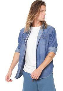 Camisa Jeans Redley Reta Bolsos Azul