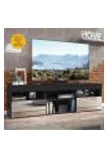 """Rack Tv 65"""" Com Espelho E 2 Portas Paris Multimóveis Preto"""