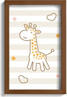 Quadro Infantil Girafa Quartinhos 22X32Cm Moldura Marrom