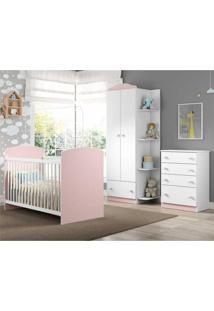 Quarto Infantil Completo João E Maria Multimóveis Branco/Rosa Com Berço + Guarda Roupa + Cômoda Branco