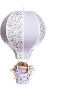 Lustre Balão Grande Com Boneca Quarto Bebê Infantil Potinho De Mel Lilás - Kanui