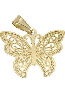 Pingente Borboleta Tudo Joias Folheado A Ouro 18K - Feminino-Dourado