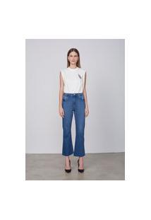 Calça Jeans Cropped Flare Em Algodão - Azul