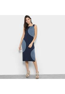 Vestido Midi Maria Filó Geométrico Feminino - Feminino-Azul