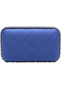 Clutch Matelass㪠Com Correntes- Azul & Prateada- 11Xschutz