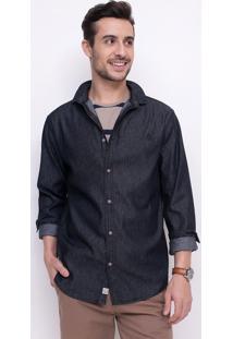 Camisa Básica Em Jeans