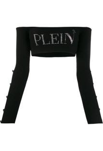 Philipp Plein Blusa Cropped De Tricô - Preto