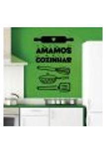 Adesivo De Parede Amamos Cozinhar - P 34X48Cm