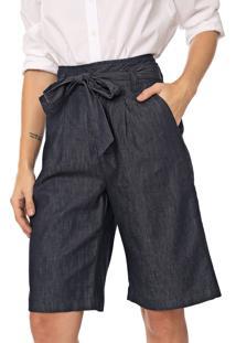 Bermuda Jeans Morena Rosa Com Faixa Azul-Marinho