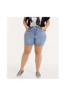 Bermuda Plus Size Feminina Jeans Cintura Alta Marisa