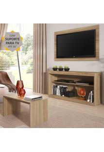 """Rack Com Painel E Suporte Para Tv Atã© 55"""" Com Mesa De Centro Inovare Multimã³Veis Argila - Incolor - Dafiti"""